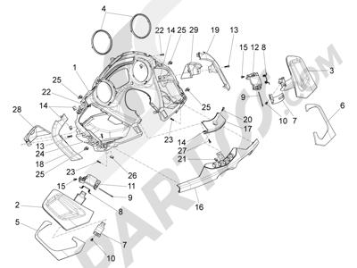 Piaggio X10 350 4T 4V I.E. E3 2012-2015 Cubiertas delanteras - Salpicadero