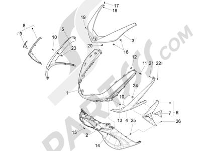Piaggio X10 350 4T 4V I.E. E3 2012-2015 Escudo delantero