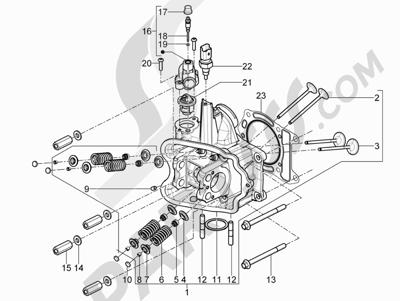 Piaggio X10 350 4T 4V I.E. E3 2012-2015 Grupo culata - Valvula