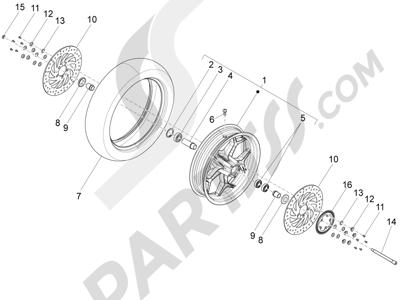 Piaggio X10 350 4T 4V I.E. E3 2012-2015 Rueda delantera