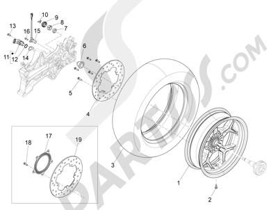 Piaggio X10 350 4T 4V I.E. E3 2012-2015 Rueda trasera