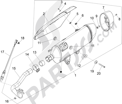 Piaggio X10 350 4T 4V I.E. E3 2012-2015 Silenciador
