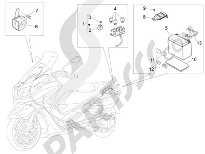 Piaggio X10 350 4T 4V I.E. E3 2012-2015 Telerruptores - Bateria - Claxon
