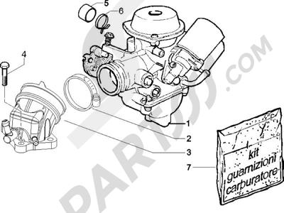 Piaggio X8 125 Potenziato 2005-2006 Carburador completo - Racord admisión