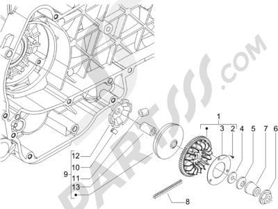 Piaggio X8 125 Potenziato 2005-2006 Polea conductora