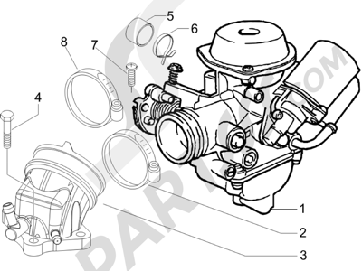 Piaggio X8 125 Premium Euro 2 2006 Carburador completo - Racord admisión