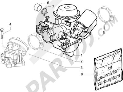 Piaggio X8 200 2005-2007 Carburador completo - Racord admisión