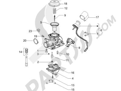 Piaggio X8 200 2005-2007 Componentes de carburador