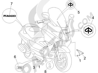 Piaggio X8 200 2005-2007 Letreros - Escudos