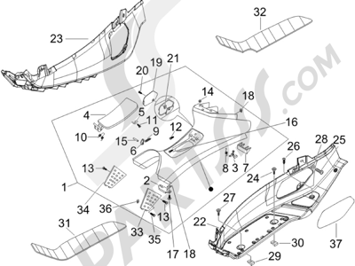 Piaggio X8 250 ie (UK) 2005-2008 Cubierta central - Estribos