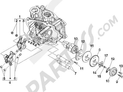 Piaggio X8 250 ie (UK) 2005-2008 Grupo soporte balancines