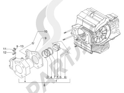 Piaggio X8 400 ie (Euro 3) (UK) 2006-2008 Grupo cilindro-pistón-eje