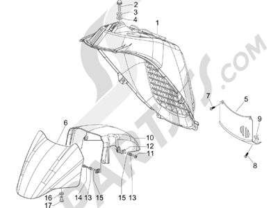 Piaggio X8 400 ie (Euro 3) (UK) 2006-2008 Logement roue - Garde boue