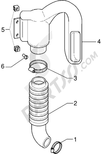 Piaggio X9 125 1998-2005 Conducto refrigeracion correa-tubo de admission