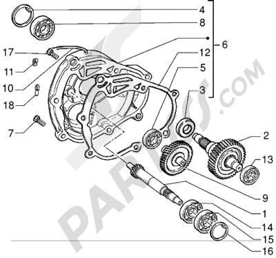Piaggio X9 125 1998-2005 Eje rueda trasera