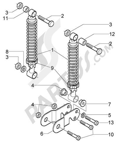 Piaggio X9 125 Evolution 1998-2005 Amortiguadores