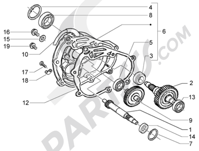 Piaggio X9 125 Evolution 1998-2005 Eje rueda trasera