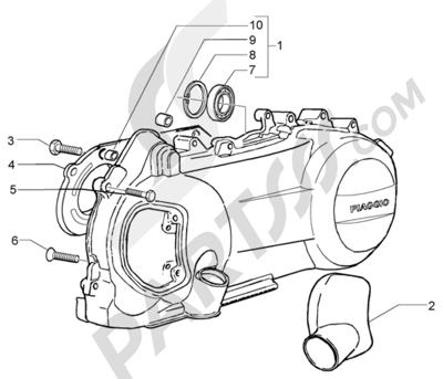 Piaggio X9 125 Evolution 1998-2005 Refrigeracion carter