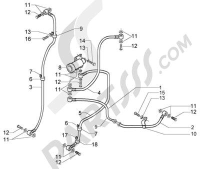Piaggio X9 125 Evolution 1998-2005 Tuberías del freno
