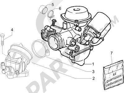 Piaggio X9 125 Evolution Potenziato (UK) 2007 Carburador completo - Racord admisión