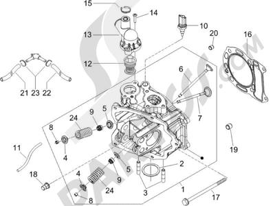 Piaggio X9 125 Evolution Potenziato (UK) 2007 Grupo culata - Valvula