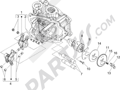 Piaggio X9 125 Evolution Potenziato (UK) 2007 Grupo soporte balancines