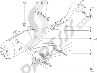 Piaggio X9 125 Evolution Potenziato (UK) 2007 Silenciador