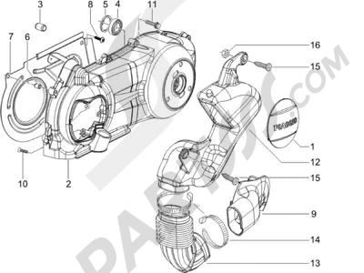 Piaggio X9 125 Evolution Potenziato (UK) 2007 Tapa cárter - Refrigeracion cárter
