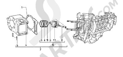 Piaggio X9 125 SL 1998-2005 Grupo cilindro-piston-eje de piston