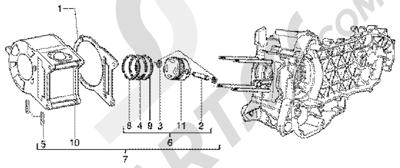 Piaggio X9 180 Amalfi 1998-2005 Grupo cilindro-piston-eje de piston