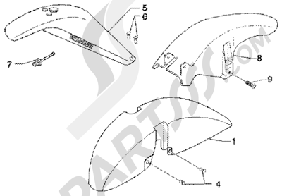 Piaggio X9 180 Amalfi 1998-2005 Hueco rueda-guardabarros