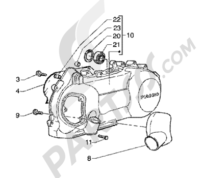 Piaggio X9 200 1998-2005 Crankcase cooling