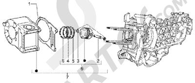 Piaggio X9 200 1998-2005 Cylinderpiston-wrist pin, assy