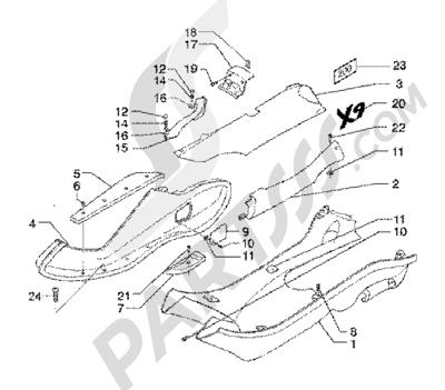 Piaggio X9 200 1998-2005 Side coveringsspoiler