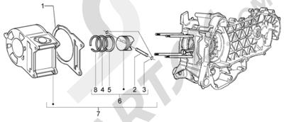 Piaggio X9 200 Evolution 1998-2005 Grupo cilindro-piston-eje de piston
