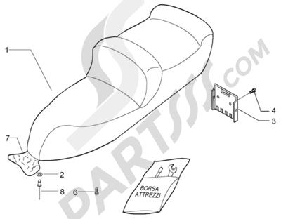 Piaggio X9 200 Evolution 1998-2005 Sillin-bolsa herramientas