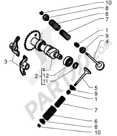 Piaggio X9 250 1998-2008 Eje de eccentricas-Válvulas
