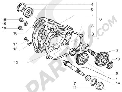 Piaggio X9 250 Evolution 1998-2005 Eje rueda trasera