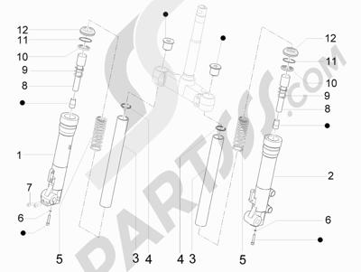 Piaggio X9 250 Evolution 2006 Componentes de la horquilla (Escorts)