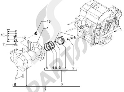 Piaggio X9 500 1998-2005 Grupo cilindro-piston-eje de piston