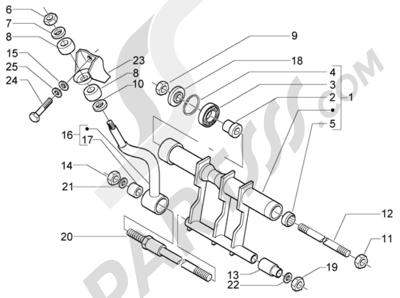 Piaggio X9 500 Evolution (ABS) 1998-2005 Brazo oscilante