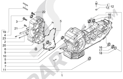 Piaggio X9 500 Evolution (ABS) 1998-2005 Carter