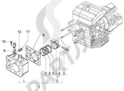 Piaggio X9 500 Evolution (ABS) 1998-2005 Grupo cilindro-piston-eje de piston