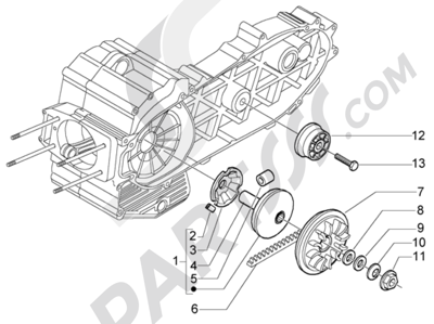 Piaggio X9 500 Evolution (ABS) 1998-2005 Polea motriz