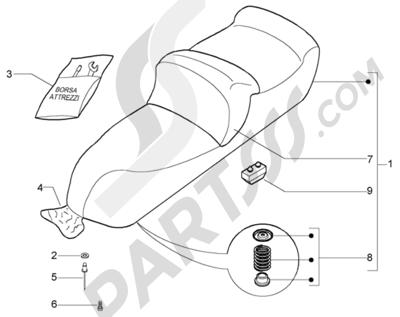 Piaggio X9 500 Evolution (ABS) 1998-2005 Sillin-bolsa herramientas