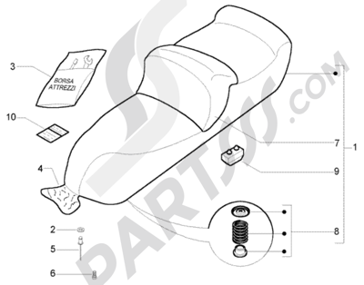 Piaggio X9 500 Evolution (U.S.A.) 1998-2005 Sillin-Bolsa Herramientas