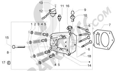 Piaggio X9 500 Evolution (U.S.A.) 1998-2005 Ventil Culata-Valvulas