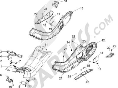 Piaggio X9 500 Evolution 2006-2007 Protection centrale - Repose-pieds