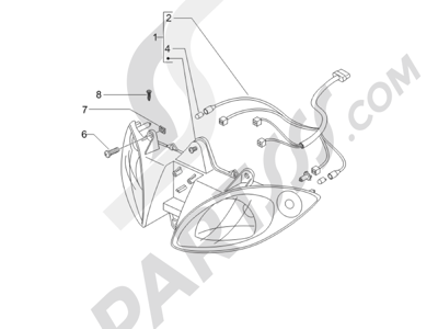 Piaggio X9 500 Evolution (USA) 2006-2007 Faros delanteros - Indicadores de dirección