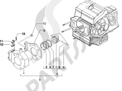 Piaggio X9 500 Evolution (USA) 2006-2007 Grupo cilindro-pistón-eje